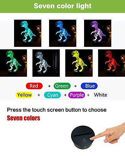 51TS0lKyzYL - Dinosaur 3D Night Light Touch Activated Desk Lamp, Ticent 7 Colors 3D Optical Illusion Lights with Acrylic Flat, ABS Base & USB Charger for Christmas Kids Gifts