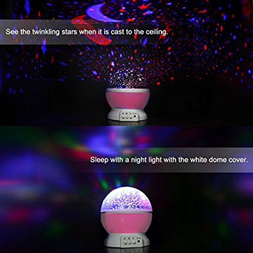 51WwzCPVueL - Alenbrathy Night Light Lamp, Star Projector Romantic LED Night Light 360 Degree Rotation 4 LED Bulbs 9 Light Color Changing with USB Cable for Birthday,Parties,Kids Bedroom Or Christmas Gift. (Pink)