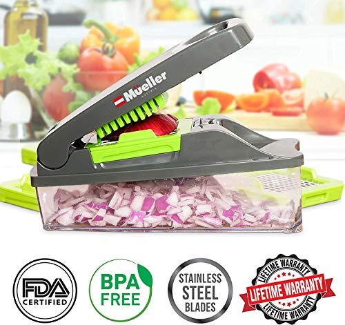 51Xafho1oyL - Mueller Onion Chopper Pro Vegetable Chopper - Strongest - NO MORE TEARS 30% Heavier Duty Multi Vegetable-Fruit-Cheese-Onion Chopper-Dicer-Kitchen Cutter