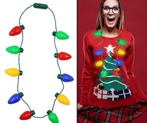 51XwmWyELXL 300x250 - Twinkle Star Christmas Lights Bulb Necklace, Novelty Gifts for Women Kids, Ugly Xmas Sweater Accessories Holiday Party Supplies, 2 Pack
