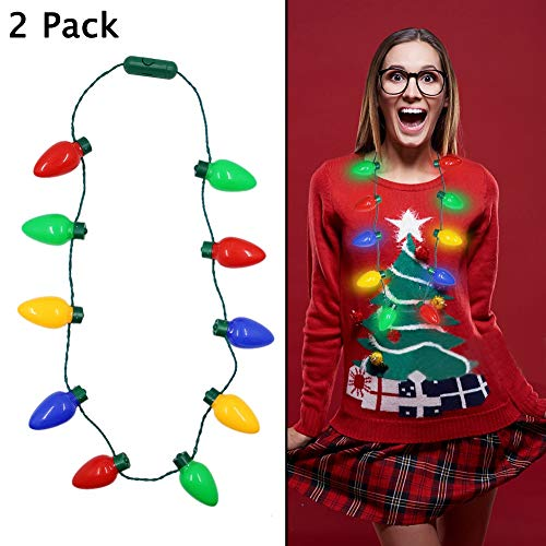 51XwmWyELXL - Twinkle Star Christmas Lights Bulb Necklace, Novelty Gifts for Women Kids, Ugly Xmas Sweater Accessories Holiday Party Supplies, 2 Pack