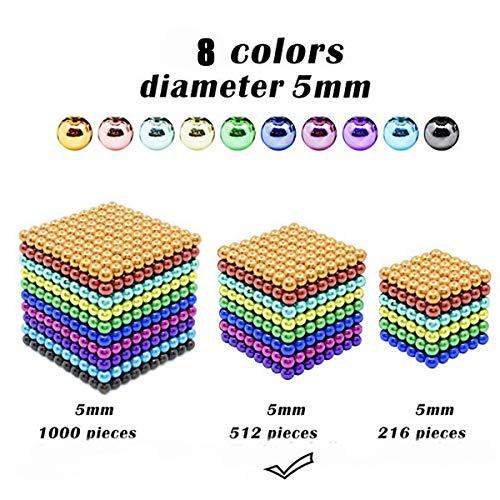 51a1SBLVy4L - JIFENGTOYS 8 Colors 216 Pcs 5MM Magnets Fidget Blocks Building Toys Magnetic Building Blocks Sets for Development Stress Relief Learning Gift for Adults (216 PCS)