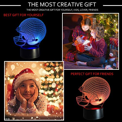 51a2BZbXZAIL - Dinosaur 3D Night Light Touch Activated Desk Lamp, Ticent 7 Colors 3D Optical Illusion Lights with Acrylic Flat, ABS Base & USB Charger for Christmas Kids Gifts