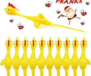 51aNgxVIaRL 300x250 - Rubber Chicken Slingshot Novelty Stress Flickin Chicken Game Flying Chicken Toys Sticky Rubber Slingshot Chicken Office Pranks Easter Chicks Halloween Games Christmas Toys for Kids Adults 10 PCS