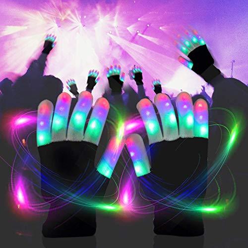 51c9Bcajg9L - LED Light up Gloves Finger Light Gloves for Kids Adults Glow Rave EDM Gloves Funny Novelty Gifts