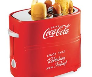 51gilacc4kL 300x250 - Nostalgia HDT600COKE Coca-Cola Pop-Up 2 Hot Dog and Bun Toaster, With Mini Tongs, Works With Chicken, Turkey, Veggie Links, Sausages and Brats, Red