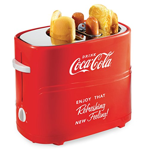 51gilacc4kL - Nostalgia HDT600COKE Coca-Cola Pop-Up 2 Hot Dog and Bun Toaster, With Mini Tongs, Works With Chicken, Turkey, Veggie Links, Sausages and Brats, Red