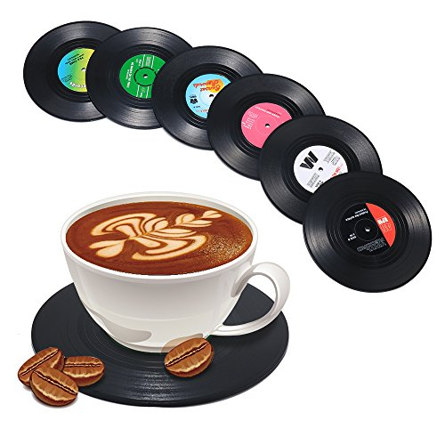 51j2Ba2BwzK8L - Record Coasters for Drinks, Funny, Absorbent, Novelty 6 Pieces Vinyl Disk Coasters, Effective Protection of the Desktop to Prevent Damage- 4.1 Inch Size by ZAYAD
