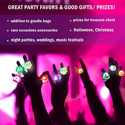 51p2WHqUwIL - Light Up Rings Birthday Party Favors for Kids Prizes Flashing 24 Pack LED Jelly Rings Novelty Bulk Toys Boys Girls Gift Glow in The Dark Thanksgiving Christmas Party Supplies