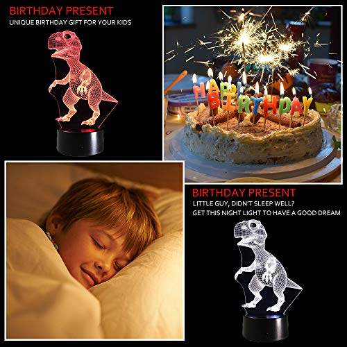 51qo7WSCwtL - Dinosaur 3D Night Light Touch Activated Desk Lamp, Ticent 7 Colors 3D Optical Illusion Lights with Acrylic Flat, ABS Base & USB Charger for Christmas Kids Gifts