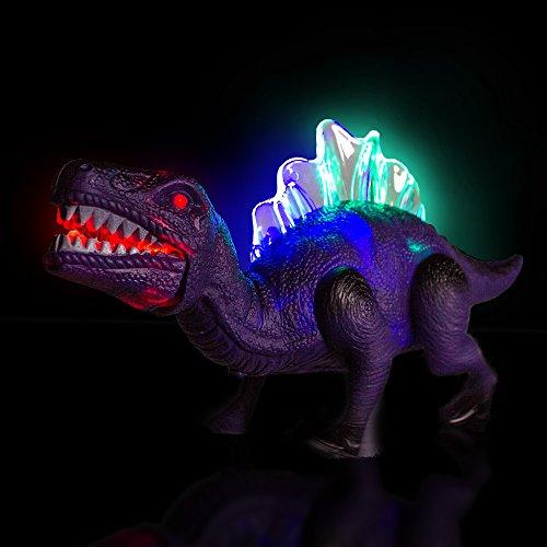 51rHkrtXNQL - Windy City Novelties LED Light Up and Walking Realistic Dinosaur with Sound