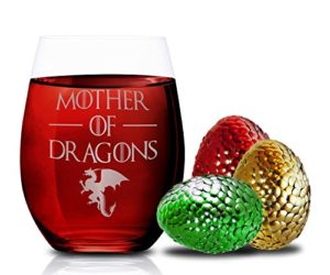 51s2BWsO8dpL 300x250 - Game Of Thrones Wine Glasses - Mother of Dragons - Novelty Drinking Games - Stemless Wine Glass 15 OZ