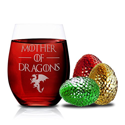 51s2BWsO8dpL - Game Of Thrones Wine Glasses - Mother of Dragons - Novelty Drinking Games - Stemless Wine Glass 15 OZ