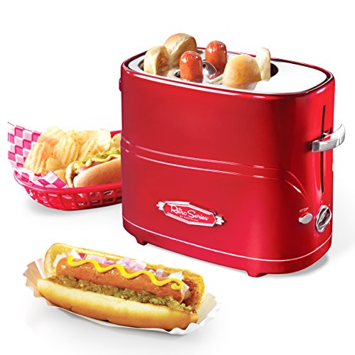 51s2Bw2lSIvL - Nostalgia HDT900AQ Pop-Up 2 Hot Dog and Bun Toaster With Mini Tongs, Works with Chicken, Turkey, Veggie Links, Sausages and Brats, Aqua Chrome