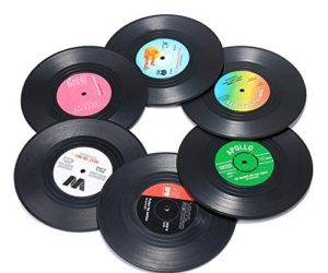 51u4uW64f L 300x250 - Record Coasters for Drinks, Funny, Absorbent, Novelty 6 Pieces Vinyl Disk Coasters, Effective Protection of the Desktop to Prevent Damage- 4.1 Inch Size by ZAYAD
