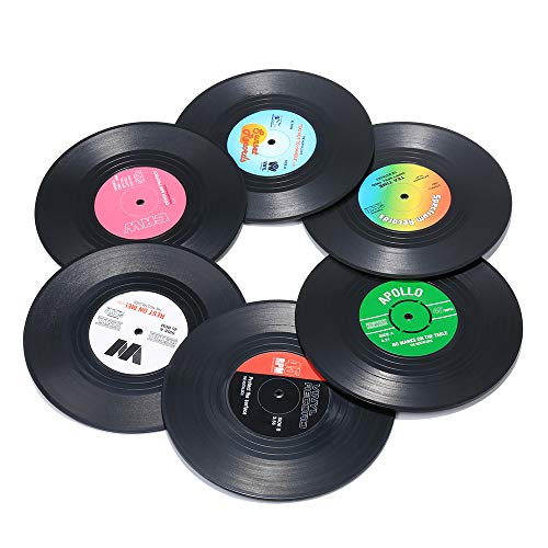 51u4uW64f L - Record Coasters for Drinks, Funny, Absorbent, Novelty 6 Pieces Vinyl Disk Coasters, Effective Protection of the Desktop to Prevent Damage- 4.1 Inch Size by ZAYAD