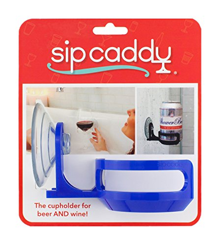 51uPmOVpprL - SipCaddy Bath & Shower Portable Cupholder Caddy for Beer & Wine Suction Cup Drink Shower Beer Holder, Clear