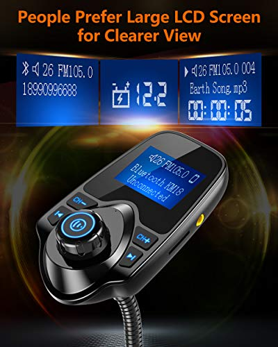 51ujC5OZUuL - Nulaxy Bluetooth Car FM Transmitter Audio Adapter Receiver Wireless Hands Free Car Kit W 1.44 Inch Display - KM18 Black
