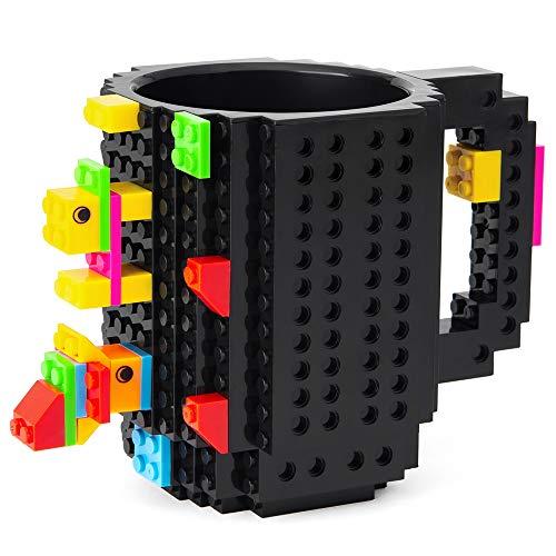 51uy jxC8qL - BOMENNE Build-on Brick Mug,Novelty Creative Compatible with LEGO DIY building Blocks Coffee Cup with bricks,is unique Christmas gift Idea (Black)