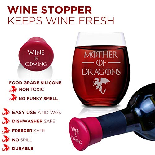 51vSfYoxVoL - Game Of Thrones Wine Glasses - Mother of Dragons - Novelty Drinking Games - Stemless Wine Glass 15 OZ