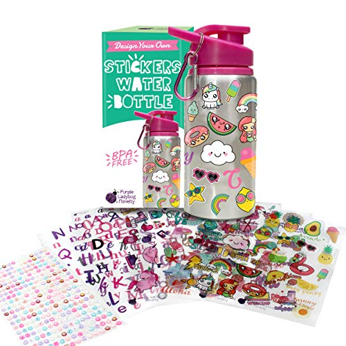 51wCorYgjwL - Decorate & Personalize Your Own Water Bottle for Girls with Tons of Fun On-trend Stickers! BPA Free 20 oz Kids Water Bottle! Cute & Creative Gift Idea for Girl, Fun DIY Art and Craft KIt for Children