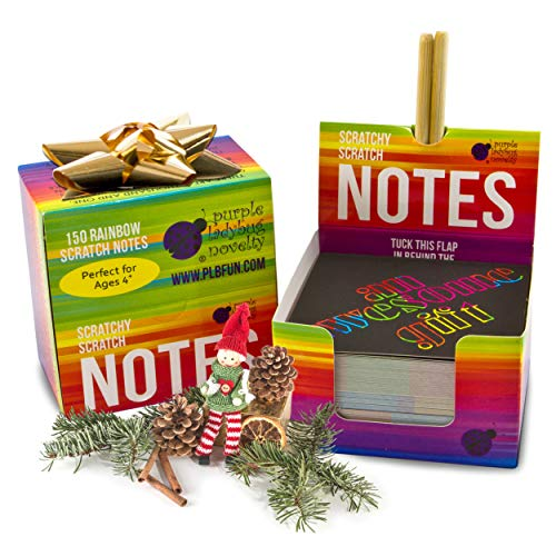 51yJsFIa2OL - Rainbow Scratch Off Mini Notes + 2 Stylus Pens Kit: 150 Sheets of Rainbow Scratch Paper for Kids Arts and Crafts, Airplane or Car Travel Toys - Cute Unique Gift Idea for Kids, Girls, Women, or Anyone!