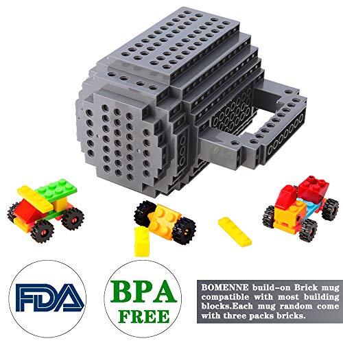 51ynqFYW54L - BOMENNE Build-on Brick Mug,Novelty Creative Compatible with LEGO DIY building Blocks Coffee Cup with bricks,is unique Christmas gift Idea (Black)