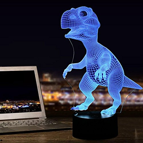 51z1omiICJL - Dinosaur 3D Night Light Touch Activated Desk Lamp, Ticent 7 Colors 3D Optical Illusion Lights with Acrylic Flat, ABS Base & USB Charger for Christmas Kids Gifts