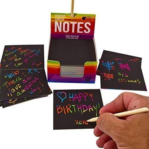 51zShTkasJL - Rainbow Scratch Off Mini Notes + 2 Stylus Pens Kit: 150 Sheets of Rainbow Scratch Paper for Kids Arts and Crafts, Airplane or Car Travel Toys - Cute Unique Gift Idea for Kids, Girls, Women, or Anyone!
