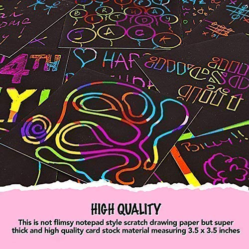 612BxMQiW9 L - Rainbow Scratch Off Mini Notes + 2 Stylus Pens Kit: 150 Sheets of Rainbow Scratch Paper for Kids Arts and Crafts, Airplane or Car Travel Toys - Cute Unique Gift Idea for Kids, Girls, Women, or Anyone!