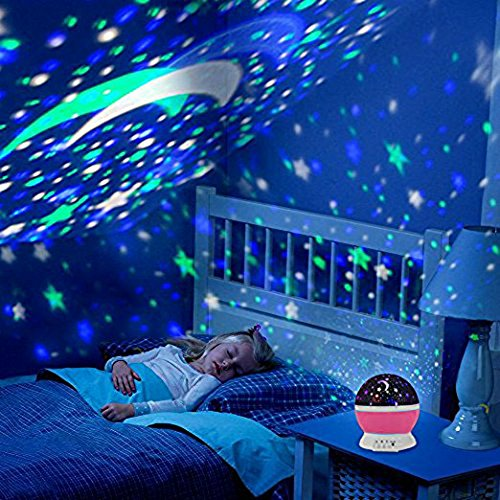 6188o3qfcJL - Alenbrathy Night Light Lamp, Star Projector Romantic LED Night Light 360 Degree Rotation 4 LED Bulbs 9 Light Color Changing with USB Cable for Birthday,Parties,Kids Bedroom Or Christmas Gift. (Pink)