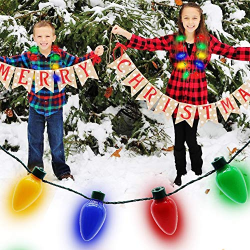 61AjXwxbxKL - Twinkle Star Christmas Lights Bulb Necklace, Novelty Gifts for Women Kids, Ugly Xmas Sweater Accessories Holiday Party Supplies, 2 Pack