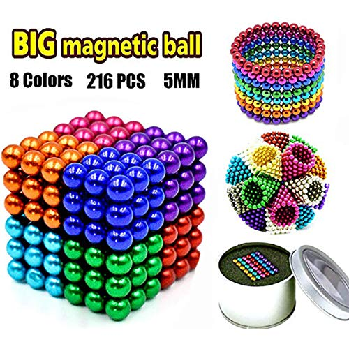 61gAt4Ony9L - JIFENGTOYS 8 Colors 216 Pcs 5MM Magnets Fidget Blocks Building Toys Magnetic Building Blocks Sets for Development Stress Relief Learning Gift for Adults (216 PCS)