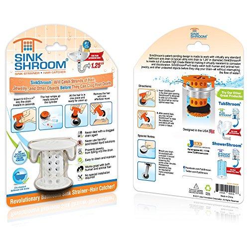 61uRjDJc2UL - SinkShroom The Revolutionary Sink Drain Protector Hair Catcher/Strainer/Snare, White