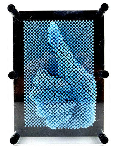 61uouCkVu L - PowerTRC 3D Pin Art Sculpture Pin Impression Toy Hand Mold Novelty Gifts Light Blue Color